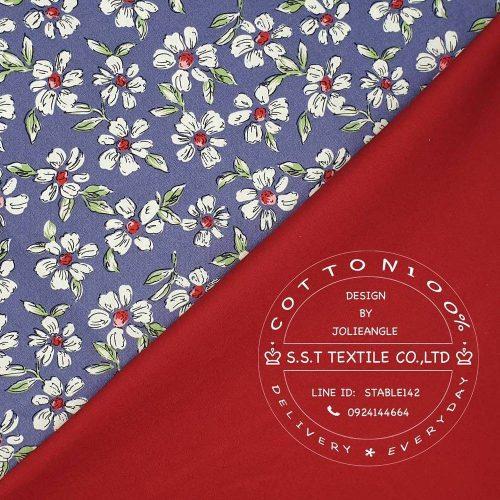61-0795ผ้าลายดอกมะลิpurple